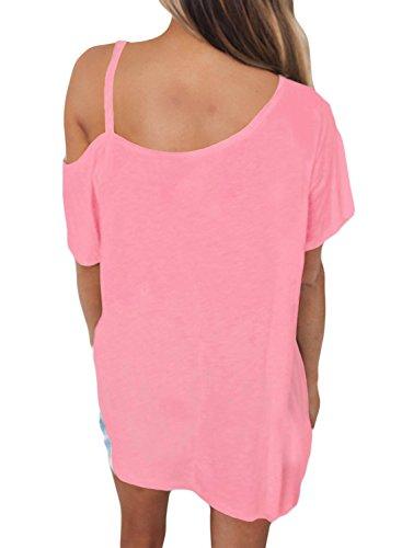 New rosa freddo spalla manica corta Fit camicetta estate camicia top casual Wear taglia UK 16EU 44