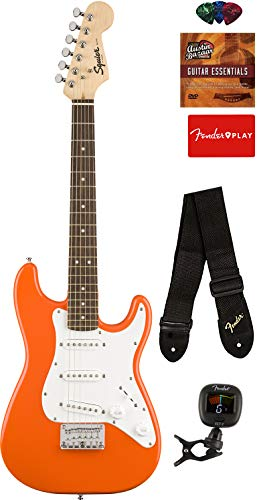 Squier by Fender Mini Strat Electric Guitar – Competition Orange Bundle with Tuner, Strap, Picks, Austin Bazaar Instructional DVD, and Polishing Cloth