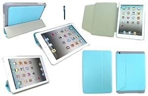 Emartbuy ® Mini Apple Ipad Stylus + Azul Turquesa Textura Ultra Delgado Folio Case Stand De Mecanografía