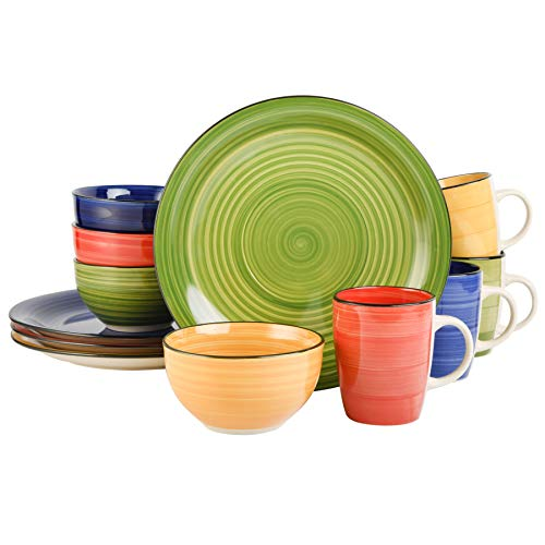 Gibson Home Color Vibes 12 Piece Dinnerware Set, Assorted Colors