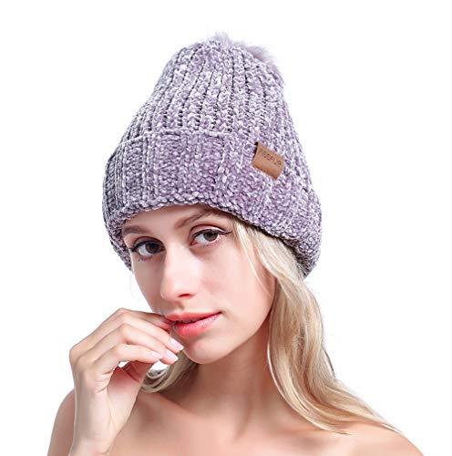 MEEFUR Womens Winter Pom Pom Beanie Crochet Adorable Trendy Hat Snow Knit Ski Bobble Cap