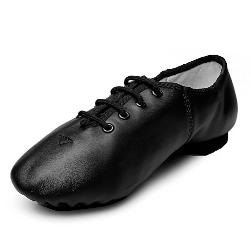 (MSMAX Unisex Lace Up Leather Dance Shoes Soft for Dancers Size)