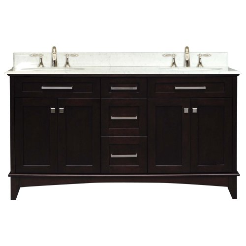 Water Creation MANHATTAN60 Manhattan Collection 60-Inch (61-Inch with Countertop) Double Sink Bathroom Vanity Set
