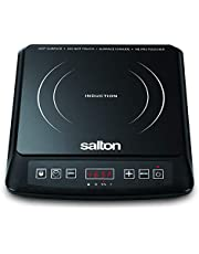 Salton Portable Induction Cooktop Cool Touch LED Display Cooker with 8 Temperature Settings for Precise Control, Energy Efficient, 1500 Watts (ID1948), Black, Medium