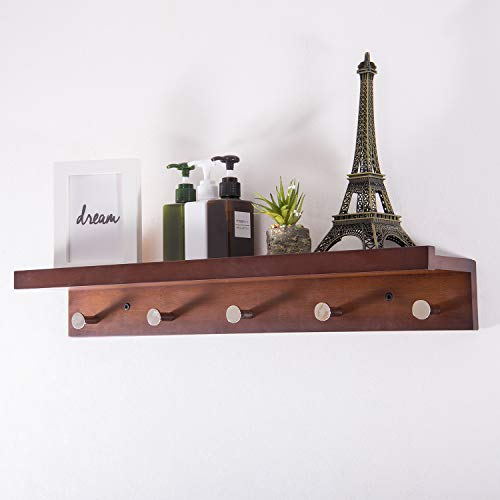 Ollieroo Bamboo Wall Mounted Shelf, Coat Hooks Rack with 5 Alloy Hooks for Entryway, Bedroom, Kitchen, Bathroom, Length 24