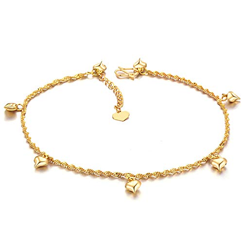 Bell Gold Beads - Anklet for Women Tassel Pendant Gold Plated Copper Heart Anklet Bells Crystal with Adjustable Link Chain Gold 21cm