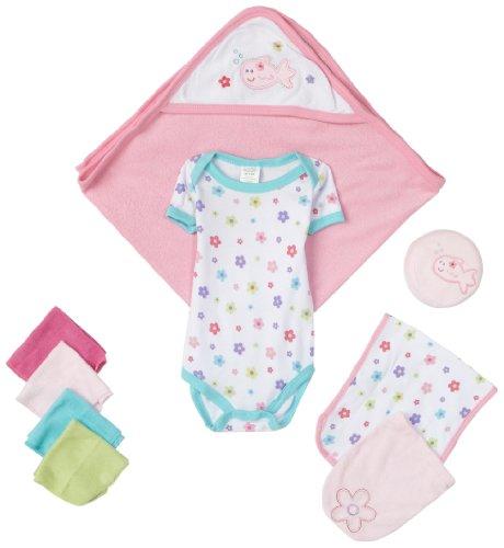 Luvable Friends 9 Piece Bath Time Gift Set, Pink, 0-6 Months