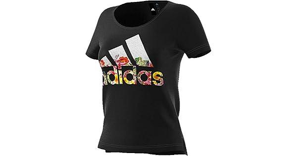 Apéndice Dar Tipo delantero  Amazon.com: adidas Camiseta deportiva para mujer con diseño de flor  deportiva, Negro, XS: Clothing