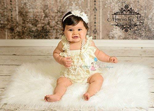 b0d5e6c5822e 2pcs Baby Girl Vintage Ivory Petti Lace Romper Set w Extra Headband ...