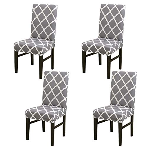 MIFXIN Chair Cover Set High Back Chair Protective Cover Slipcover Universal Stretch Elastic Chair Protector Seat Covers for Dining Room Wedding Banquet Party Decoration (Gray+White, 4 Pcs) -
