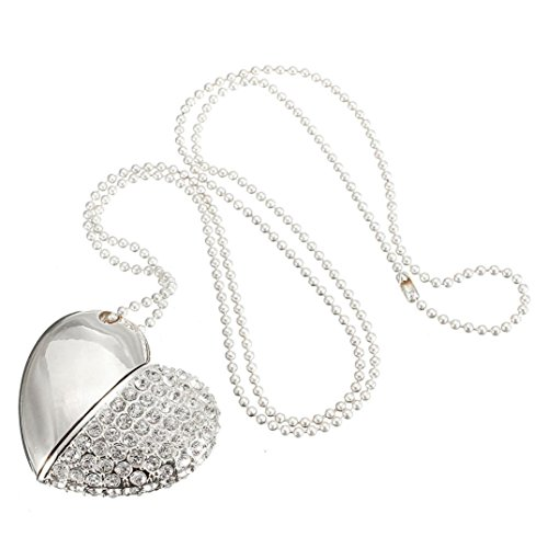 SMYTShop Heart Shape 8GB Fashion Jewelry Bling Shiny Crystal Diamond Pendant USB High Speed Flash Memory Stick Pen Drive Disk Necklace (Silver)