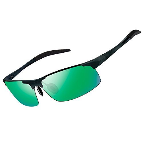 FEIDU Men's Sports Style Polarized Sunglasses Driver Sunglasses For Men FD8005 (Green/Black, - Sunglasses Heads For Small