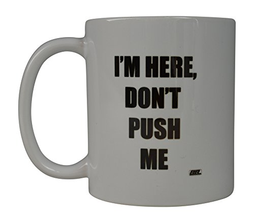 Rogue River Funny Coffee Mug Don't Push Me I'M Here Novelty Cup Great Gift Idea For Office Party Employee Boss Coworkers (Im Here) (Employees 10 For Under Ideas Gift)