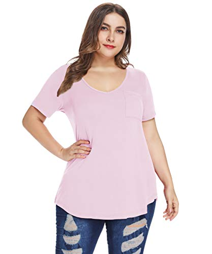 MONNURO Womens Plus Size Shirts Casual V Neck Short Sleeve Tunic Tops with Pocket(Pink ()