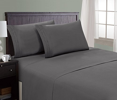 HC Collection Bed Sheet & Pillowcase Set HOTEL LUXURY 1800 Series Egyptian Quality Bedding Collection! Deep Pocket, Wrinkle & Fade Resistant,Luxurious,Comfortable,Extremely Durable(Full, Grey)