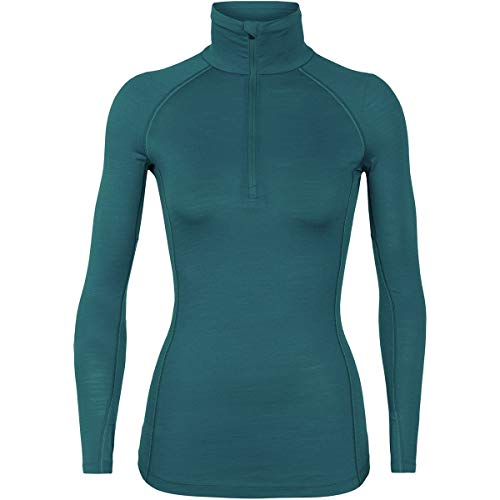 Icebreaker Merino Women's 150 Zone Long Sleeve Half Zip Base Layer Tops, X-Small, Kingfisher/Arctic Teal