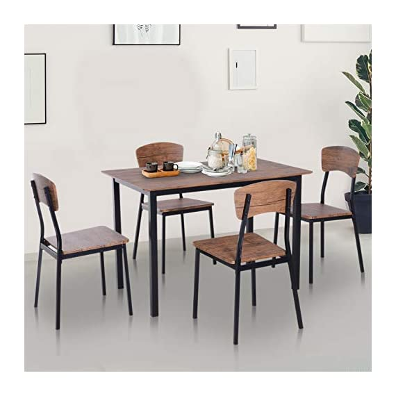 HOMCOM 5 Piece Modern Counter Height Dining Table and Chairs Set - ✅CONTEMPORARY CLASSIC DESIGN: Our modern industrial table and chair set combines simplicity and practicality to fit in no matter what style your dining room or kitchen is. ✅5 PIECE STACKABLE DINING SET: This dining set consists of a dining table and four matching chairs so the whole family can gather around and is ideal for apartments or small spaces because of its compact size. Stackable design occupy little space when not to use. ✅VERSATILE USE: The dining chairs can be used as bar stools or as additional seating for high countertops with high backrests that provide support. - kitchen-dining-room-furniture, kitchen-dining-room, dining-sets - 41fU85gFnOL. SS570  -