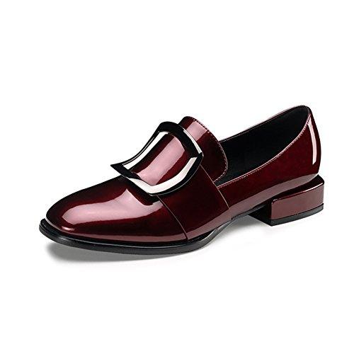 LIANGJUN Zapatos De Mujer Tacones Bajos Botines Primavera, 7 Tamaños, 2 Colores Disponibles (Color : Vino tinto, Tamaño : EU40=UK6.5=L:250mm) Vino tinto