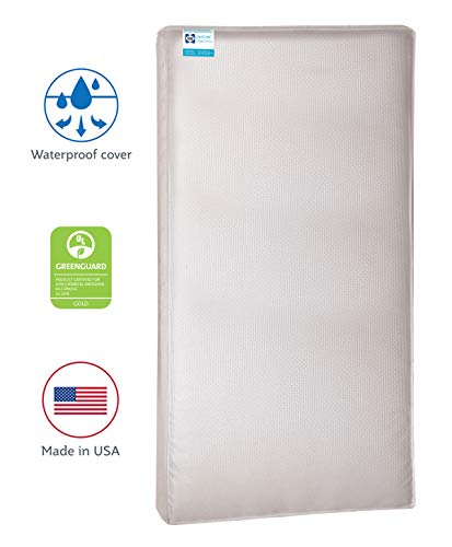 "Sealy Baby OptiCool 2-Stage Dual Firmness Waterproof Standard Toddler & Baby Crib Mattress - Lightweight Soybean Cool Gel Memory Foam, 51.7"" x 27.3"""