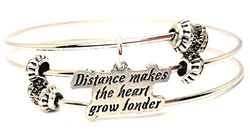 "ChubbyChicoCharms Distance Makes The Heart Grow Fonder Expandable Wire Triple Style Bangle Bracelet, 2.5"""