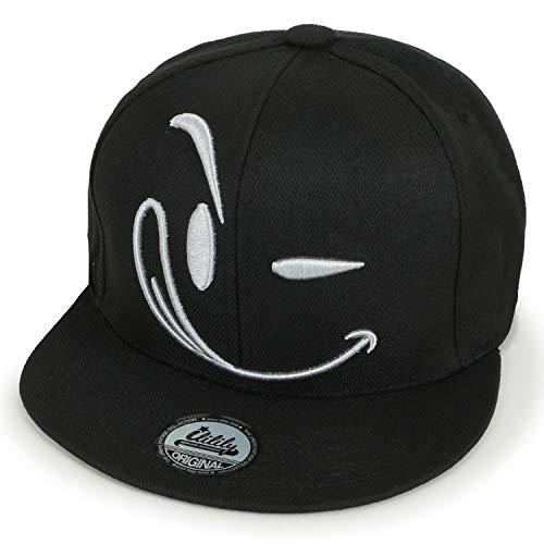 ililily Structured Flat Bill Style Smile Baseball Cap Snapback Trucker Hat, Silver