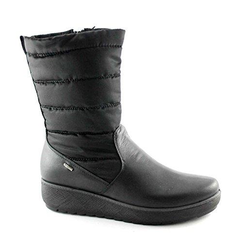 IGI & CO 67810 negras botas de cremallera mujeres de Gore-Tex de cuña de cuero Nero