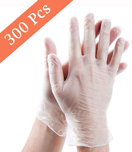 300 Piece Disposable Clear Plastic Gloves,Plastic Disposable Food Prep Glove,Disposable Polyethylene Work Gloves for…