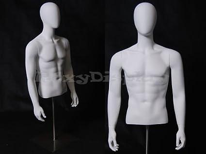 Male Full Body Mannequin w// Base Glossy White Fiberglass Egg Head Style