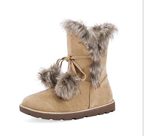 5 de Mujeres de grueso Sweet Tamaño de 2 Brown felpa fondo grande nieve Cm Botas 33 calientes 43 Decoración Botas qFSp0vv