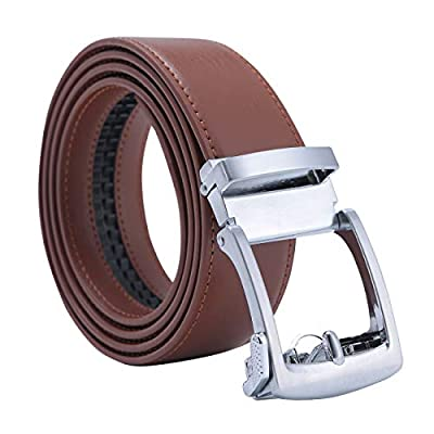 "Men's Genuine Leather Ratchet Casual Dress Belt With Automatic Buckle 1 3/8"" Width,Adjustable Exact Fit"