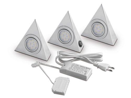 3er SET SO-TECH® LED-Dreieckleuchten Unterbauleuchten mit Zentralschalter
