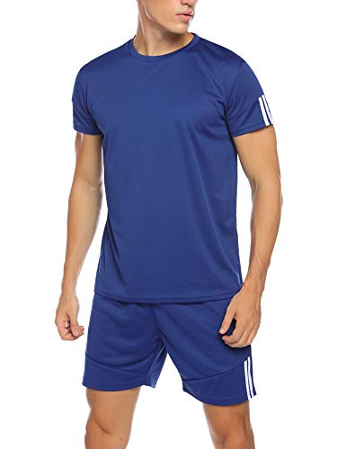 Hawtion Men's Sport Active Tracksuit Short Sleeve Striped Running Jogging Outfit Set Blue