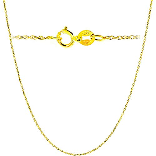 14K Yellow Solid Gold Italian Diamond Cut 0.7mm Rope Chain Necklace Super Thin Strong with an extension (16 Inches Yellow-Gold ITALY)