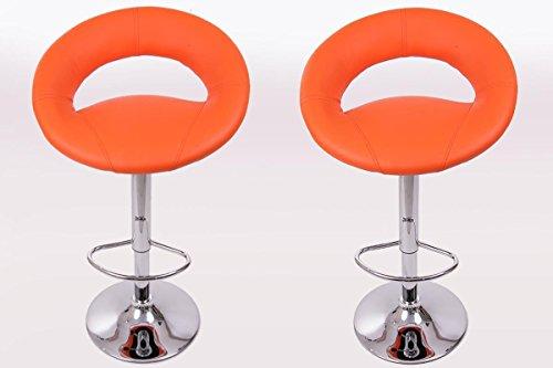 2x-Taburete-de-bar-naranja-cuero-artificial-giratorio-ajustable-en-altura-acolchado