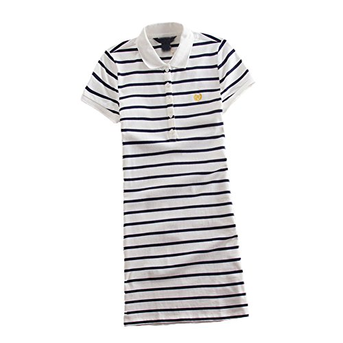 (Teeuiear Women Embroidery Polo Striped Print Summer T Shirt Dress Slim Casual Mini Sport Dresses (L, Q896 White))