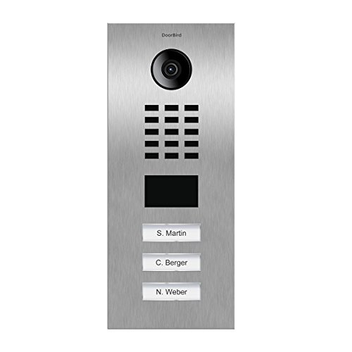 DoorBird IP Video Door Station Flush-mounted, Brushed Stainless Steel Call buttons Multi Tenants - Access Control- POE Capable (Stainless Steel/3 Call Buttons)