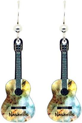 Acoustic Guitar Nashville Earrings by dears Non-Tarnish Sterling Silver French Hook Ear Wire
