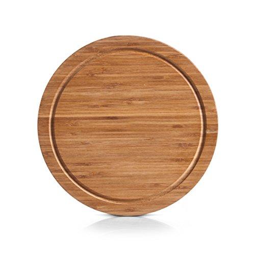 zeller 25250 schneidebrett rund ø 30 x 1 8 cm bamboo amazon de