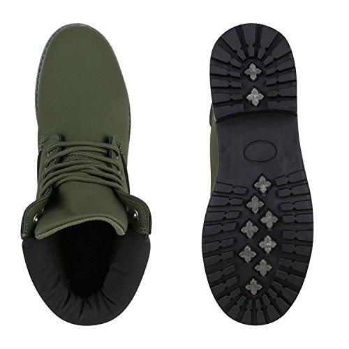 Stiefelparadies Herren Worker Boots Leicht Gefütterte Schuhe Schnürboots Outdoor Schnürschuhe Profilsohle Wildleder-Optik Schnürer Flandell Dunkelgrün Berkley