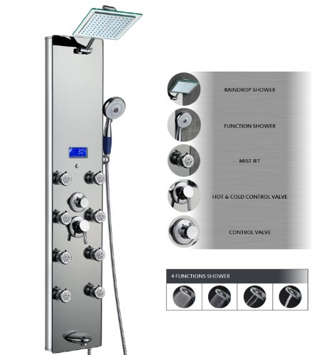 AKDY AK-787392M 52 Inch Tempered Glass Aluminum Shower Panel Az787392M Rain Style Massage System, Silver