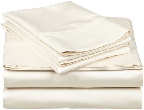 Thread Treasure Hotel Quality 1500 Thread Count 100% Egyptian Cotton Luxury 4 Piece Bed Sheet Set (Queen Ivory Solid) Premium 1500TC Fits Mattress Upto 18'' Deep (Ivory 1500 Thread)