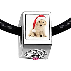 Chicforest Silver Plated Wearing a Santa Hat dog Photo Light Rose Crystal October Birthstone Flower Charm Beads Fits Pandora Bracelet