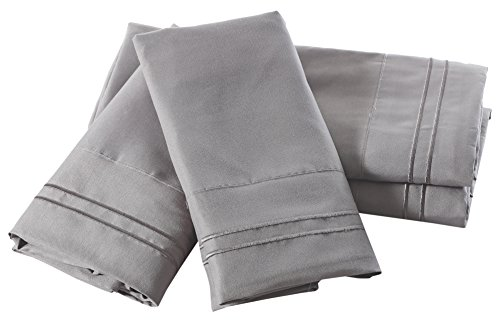 (Pisces Global Windsor Collection Microfiber 4-Piece Sheet Set, Queen, Gray,)