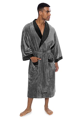 Texere Men's Terry Cloth Bath Robe (Turilano, Zinc, SM) Absorbent Gift for Dad