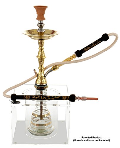 Hookah Stand (Box Stand) to Protect Hooka from Falling Over or Breaking, Clear Acrylic Box, Helps Secure Hookah Shisha Nargila, Stop Burnt Carpets, includes Ice Bucket (Single, Clear)