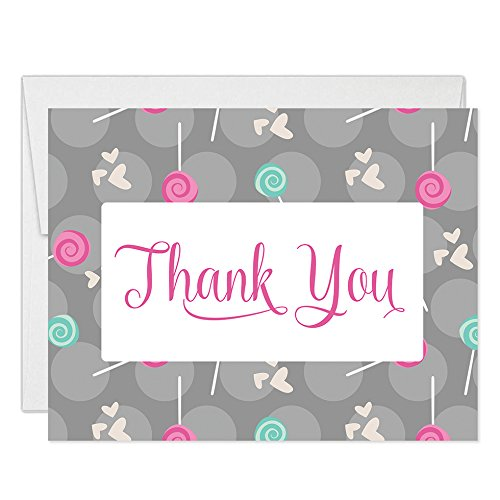 Lollipops Hearts & Polka Dots Thank You Cards with Envelopes (Pack of 50) Folded Candy Cute Baby Bebe Shower Thank You Notes See Matching Invitations Excellent Value Thanks Gracias Notecards VT0051 ()