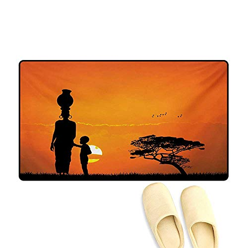 Bath Mat,Child and Mother at Sunset Walking in Savannah Desert Dawn Kenya Nature Image,Door Mat Indoors Bathroom Mats Non Slip,Orange Black,32