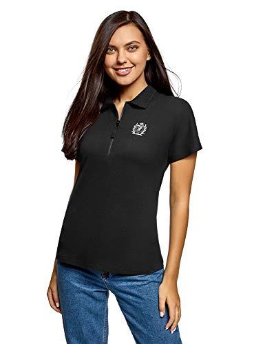 oodji Ultra Damen Poloshirt mit Reißverschluss und Stickerei