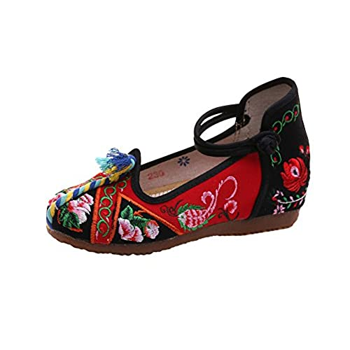 cheap AvaCostume Women National Flavor Embroidery Color Rope Flats Dress Shoes on sale