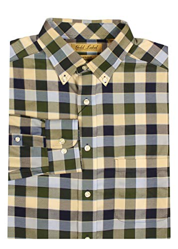Roundtree Green Yorke - Gold Label Roundtree & Yorke Non-Iron Wrinkle-Free Men's Big Tall Dress Shirt (LT, Blue Green Gingham Plaid)